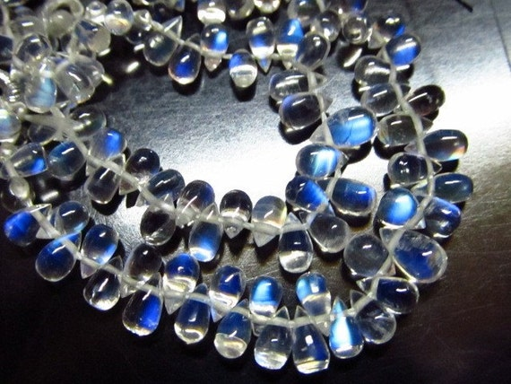 AAAA - High Quality Rainbow Moonstone - Amazing Clear Smooth Tear Drops Briolett Sizs 3x4 5x7 mm approx 51 pcs