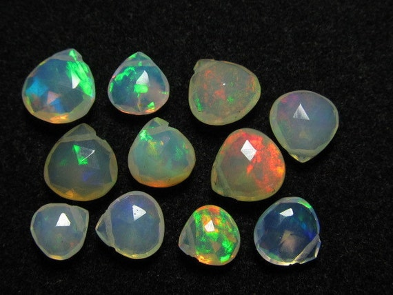11 pcs - Trully Awesome - AAAAA - HiGH Quality Ethiopian - OPAL - Super Shine Full Colour Fire Faceted Heart Briolett - Size 6 - 8  mm