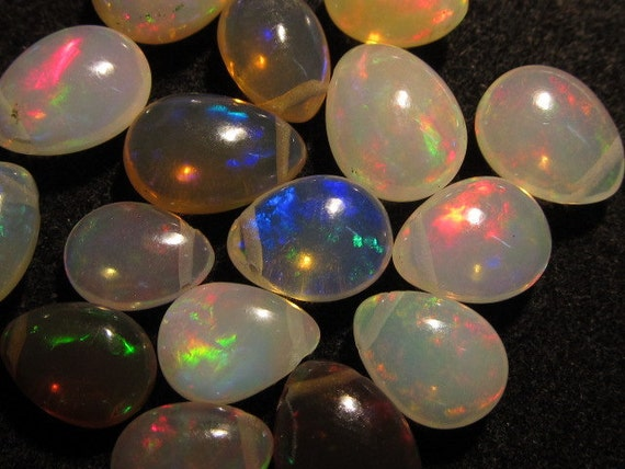 16pcs - AAA - High Quality - Ethiopian Opal - Smooth Polished Pear Briolett Focal Drilled Amazing Colour Full Fire Size - 6 - 10 mm approx