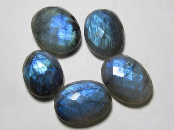 15x20 - 19x25 MM - Really Huge Size - 5 Pcs - Stunning Quality - Labradorite - Chekar Cut Oval Cabochon Full BlueFlashy Fire Sparkle