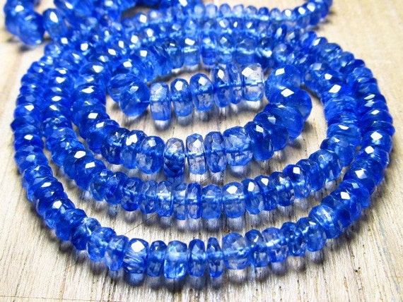 8 inches full strand - super fine high quality- deep blue-kaynite micro faceted  rondell beads - amazing natural - size approx 4 - 6 mm