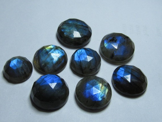 14 - 19  MM - Really Huge Size -  8 pcs  Stunning Quality - Labradorite - Rose Cut Round Cabochon Full Blue Flashy Fire Sparkle