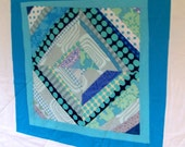 Modern Patchwork Quilt for Baby- Blue Uno