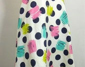 vintage 1960s POLKA DOTS and Brushstroke Print Cotton Skirt