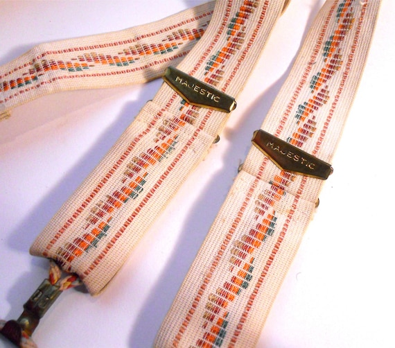Early 1900s Fancy Men's Embroidered Suspenders Braces by Majestic