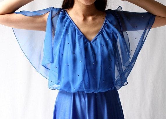 Vintage 70s SOPHIE Cobalt Blue Chiffon Maxi Dress s m