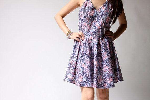 vintage 1980s dress / 80s floral dress / Garden Party Dress