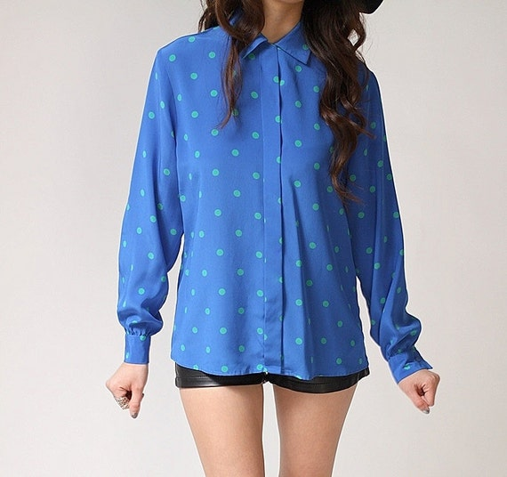 Vintage 70s ANNIE Blue and Green Dots Blouse (s - m)