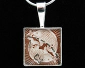Chinese stamp pendant- brown Pisces