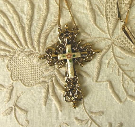 Enamel and Gold Filigree Cross Necklace