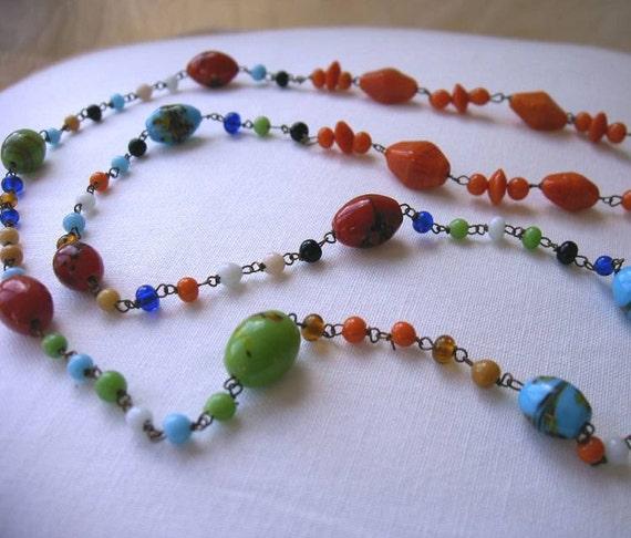 Slightly Odd Multi Color Glass Beaded Necklace