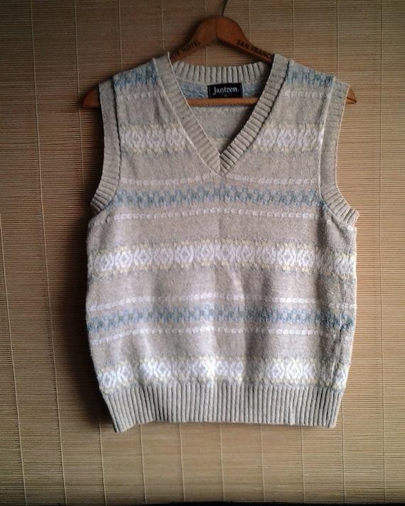 Vintage Jantzen V Neck Sweater Vest High Quality pastels 80s preppy