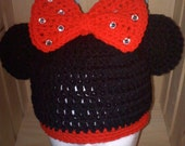Crochet Hat with Mouse Ears and Bow for babies, girls, teens, women