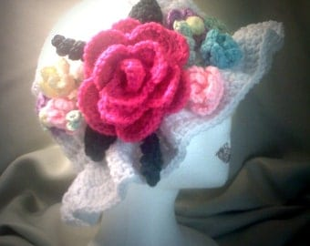 Custom White and Floral Crochet Easter Hat PATTERN
