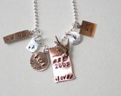 Sparrow Family Necklace-Hand Stamped-Sterling Silver-Copper-Aged -