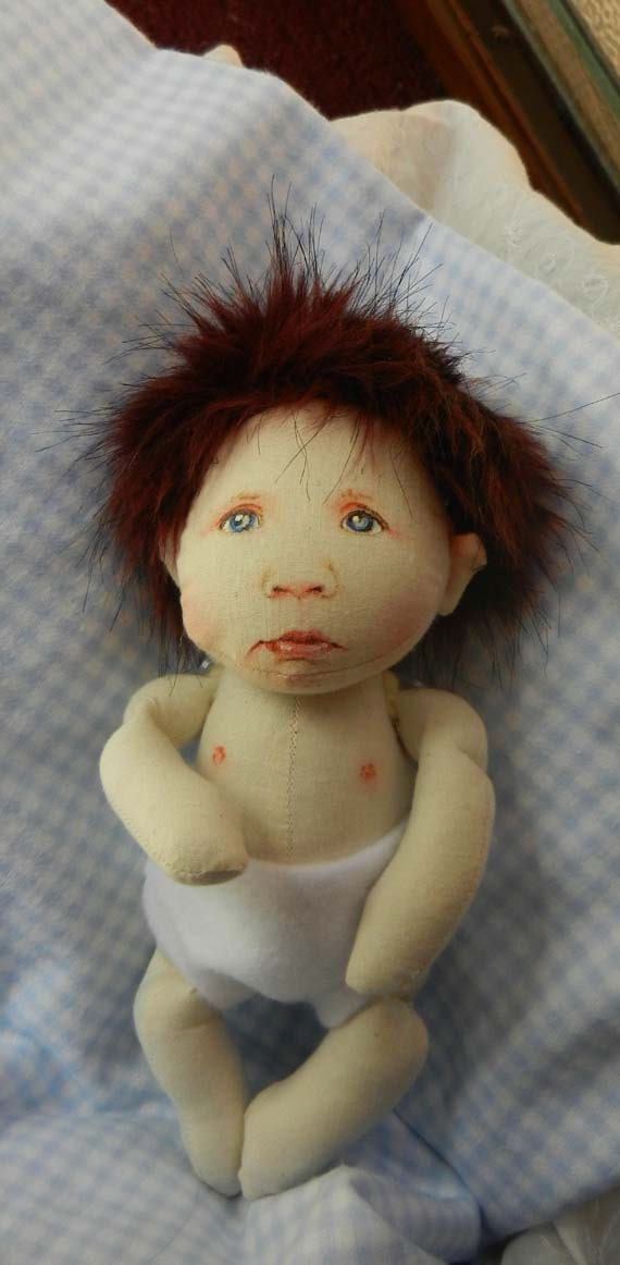 """Logan the 7"""" all cloth Baby Rag Doll"""