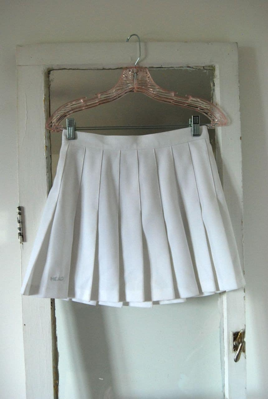pleated white tennis skirt by