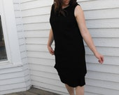 60s Black Sheath Dress Sleeveless Tiered LBD Vintage 1960s L XL