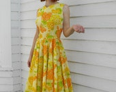 Vintage 50s Yellow Dress H Bar C Party Floral Print M