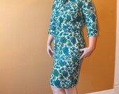 Vintage 50s Print Dress Nelly Don Plus 46 Bust 36 Waist