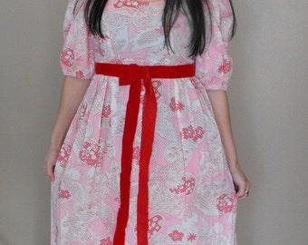 Hippie Maxi Dress Pink Red Bird Print Cotton Empire Vintage 70s 1970s S M