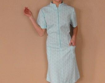 Mod 60s Dress 1960s Sci Fi Aqua Blue Zip Up Vintage Short Sleeve XL Plus