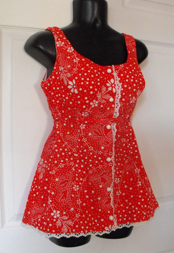 Vintage Swimsuit Bathing Suit Red Polka Dot Floral Print Skirted A California Poppy