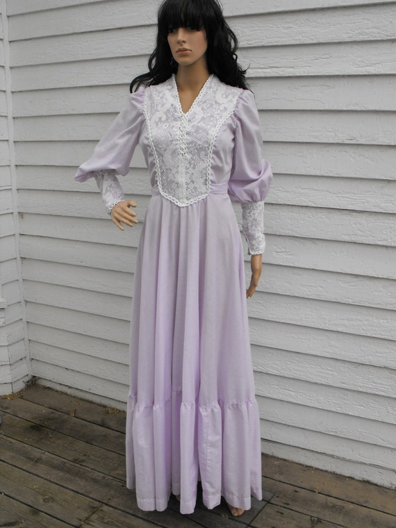 Vintage 70s Prairie Dress Corset Lavender Purple Boho Lace Long Full S M