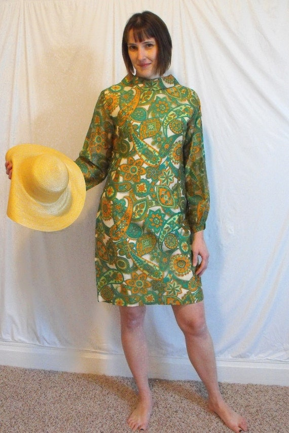 Vintage 60s Dress Hippie Mod Green Print M L