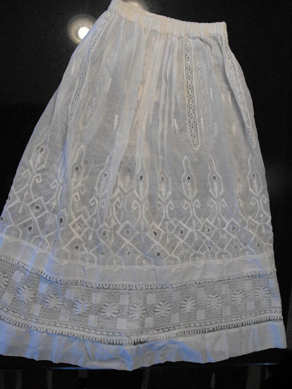Antique Edwardian Skirt Lace White S