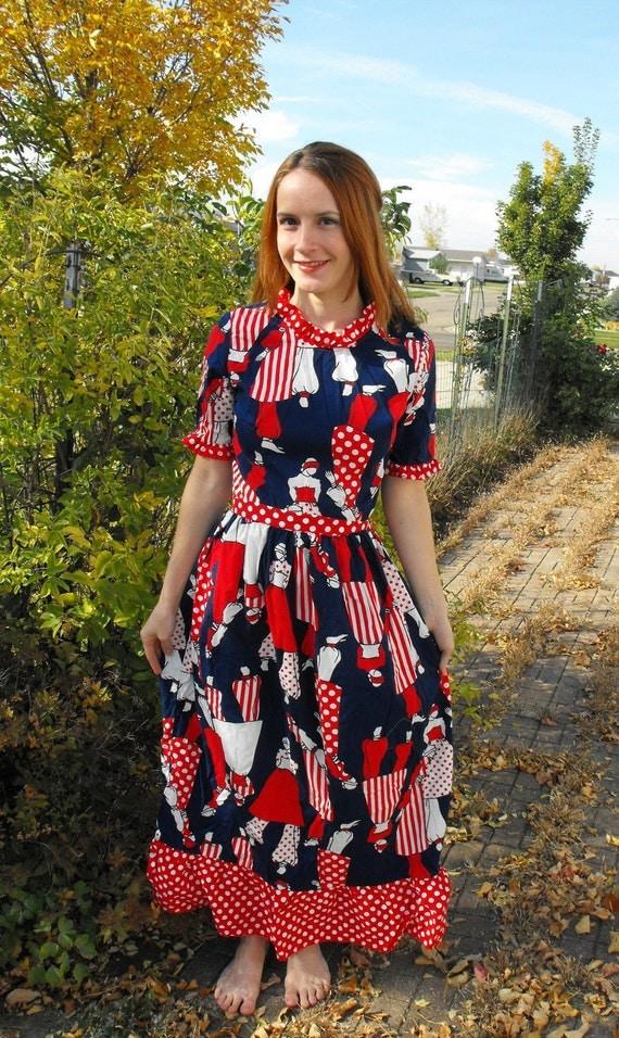 Vintage 70s Biba Style Novelty Print Dress Red White Blue S M