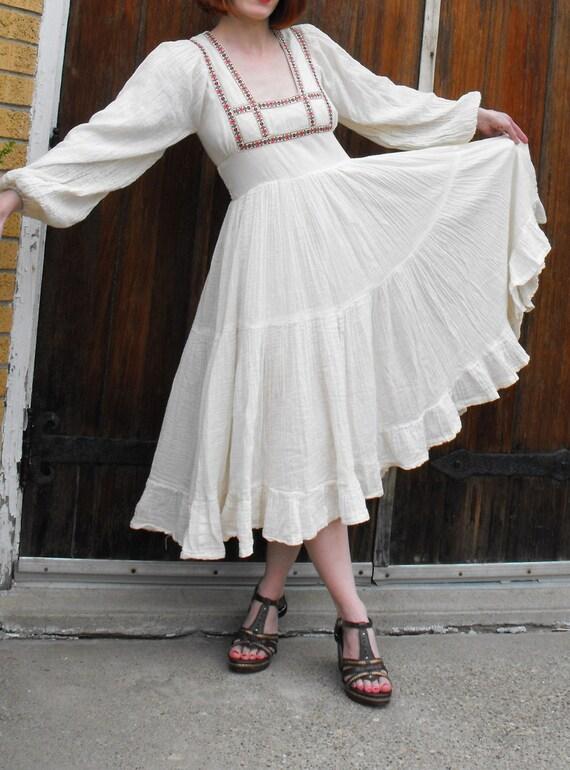Vintage 70s Gunne Sax Dress Prairie Hippie Empire Boho XS S