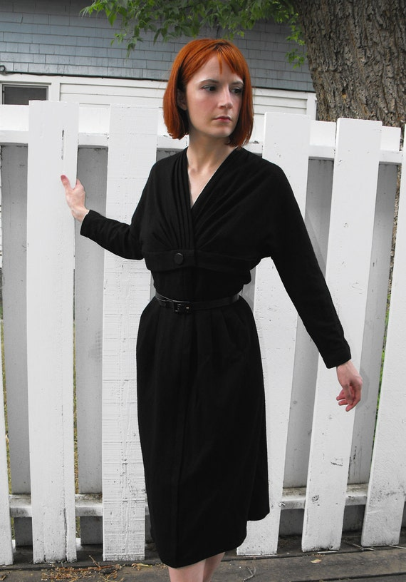 Vintage 60s Black Dress XS Lipman Original Wiggle Hourglass