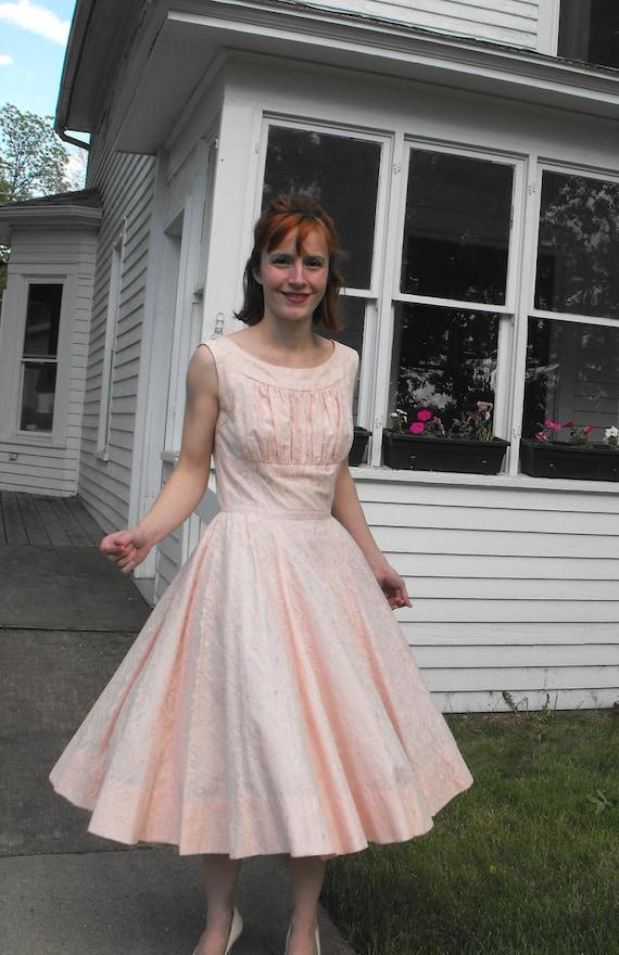 Vintage 50s Pink Lace Dress XS S Party