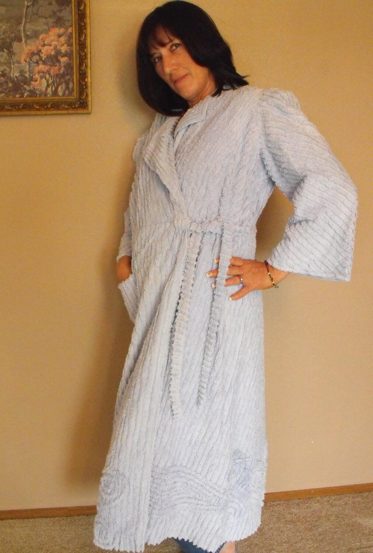 Vintage 30s Chenille Bath Robe Housecoat Light Blue M L
