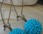 Turquoise Chrissy Flower Earrings  LS 116