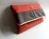 Envelope Clutch: Faux Suede, Leather Fold Over Clutch, Coral and Brown Clutch