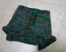 Unisex Hand Dyed Merino Wool Shortie Soaker, Diaper Cover - Marbles 888