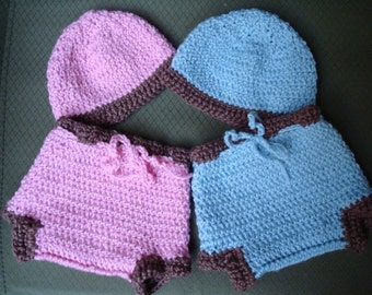 Fraternal Twins Matching Soaker and Hat Set for Preemies, Newborns, and Infants - Lil Bums 481