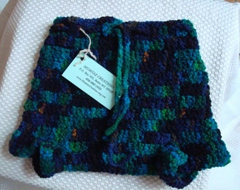 Hand-Stitched All Wool Shortie Soakers, Cloth Diaper Cover - Green River 279