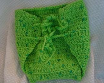 Custom Wrap Crocheted Wool Soaker Diaper Cover - Medium - Lime 90