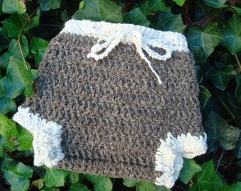 Double Ply Hemp and Wool Shortie Soaker, Cloth Diaper Cover - Small - Walnut 488
