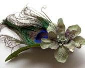 RESERVED for ALISON- Feather Clip: Peacock and Olive Delphinium Leafy Green