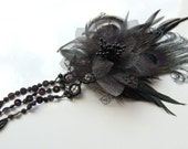 Performance Feather Clip: Black Lace Flower with Black Peacock, Iridescent Coque and Applique Falls