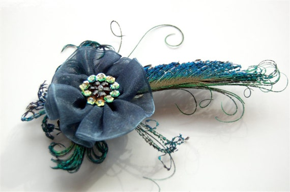 ON SALE- Feather Clip: Blue Gauze Peacock Sword