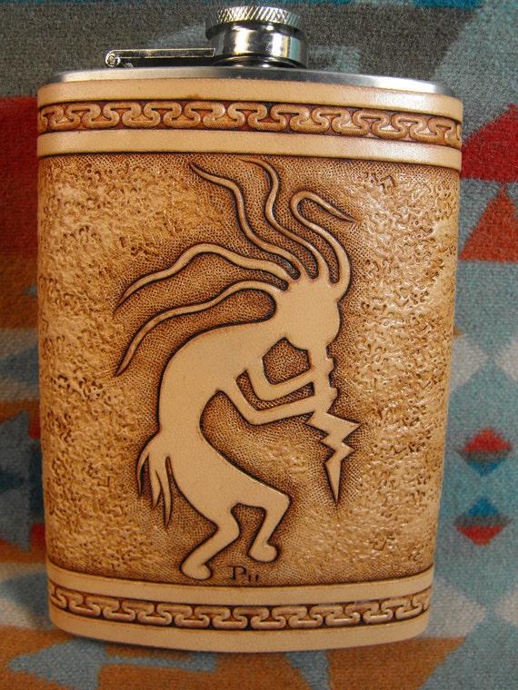 Hand Tooled Leather Kokopelli Flask