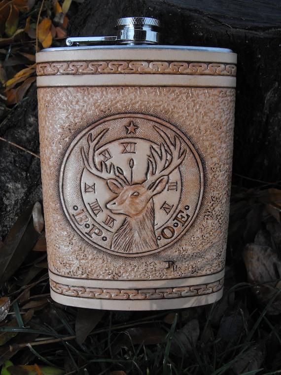 Hand Tooled Leather BPOE Elks Flask