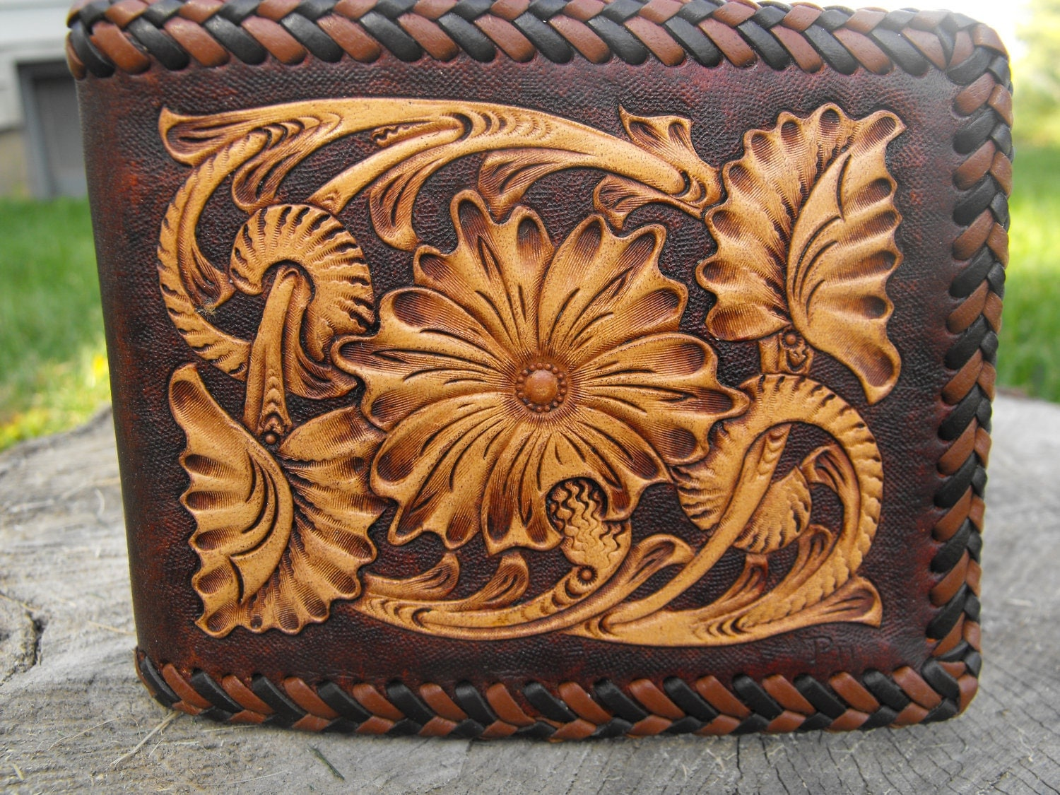 Hand tooled leather sheridan wallet