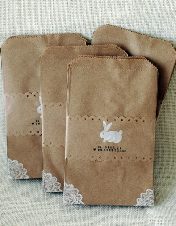 24 KRAFT BAGS with lace corners