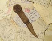 Vintage Handmade Wood Letter Opener - Rustic Zodiac Symbols.
